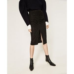NWT Zara Size S Draped Pencil Midi Black Skirt